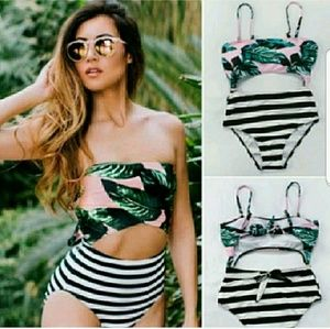 New High Waisted Floral Striped Monokini Swimmer